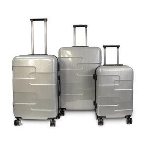 KINSTON Set de 3 Valises Rigide ABS & Polycarbonate 8 Roues 56-66-76cm Argent
