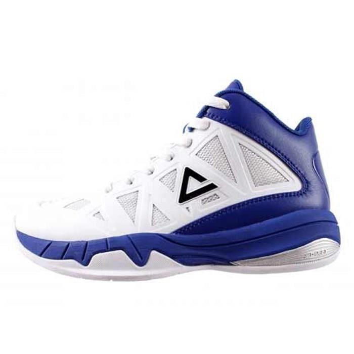 PEAK Chaussures de Basket Victor - Enfant - Blanc et bleu