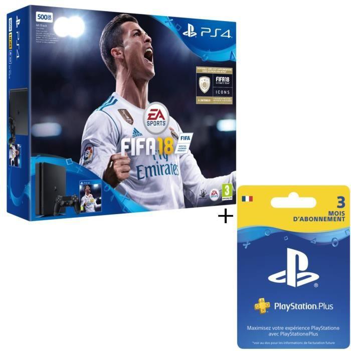 PS4 Noire 500 Go + FIFA 18 + Abonnement PlayStation Plus 3 Mois