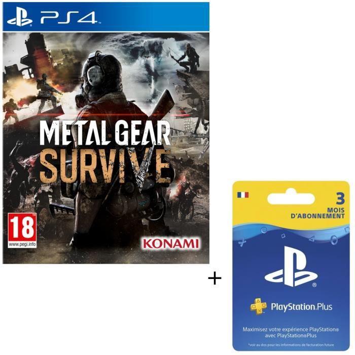 Pack Metal Gear Survive Jeu PS4 + Abonnement Playstation Plus 3 Mois PSVita-PS3-PS4