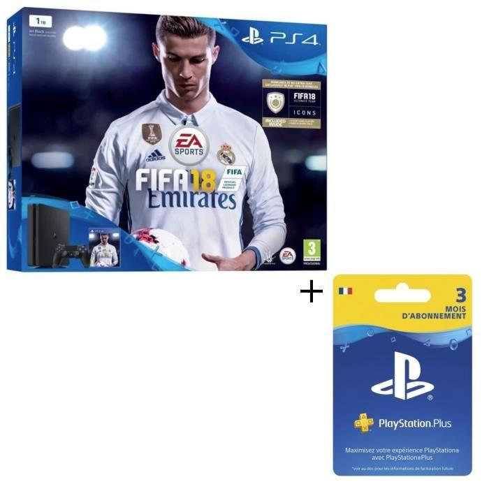 Pack Nouvelle PS4 Slim 1 To + FIFA 18 Jeu PS4 + Abonnement Playstation Plus 3 Mois