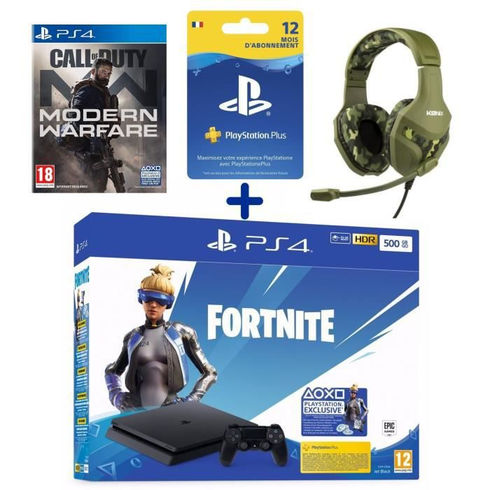 PS4 Slim 500 Go + Call Of Duty Modern Warfare + Casque Konix PS-400 Camouflage + Abonnement 12 Mois PS Plus + Voucher Fortnite
