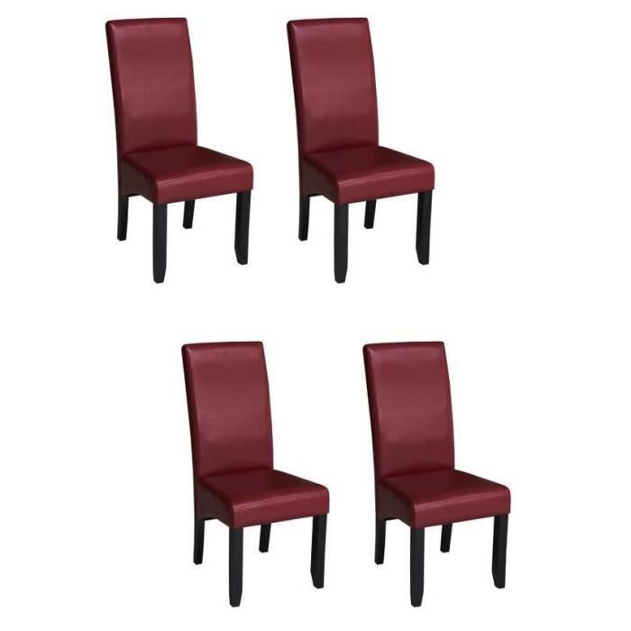 CUBA Lot de 4 chaises de salle à manger en simili bordeaux