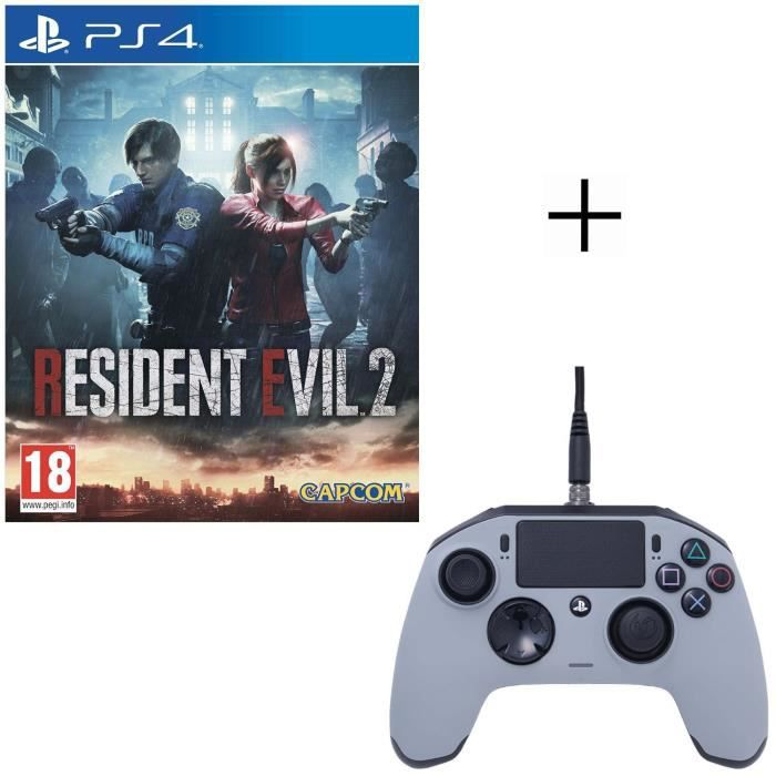 Resident Evil 2 Jeu PS4 + Manette Nacon Revolution Pro Grise
