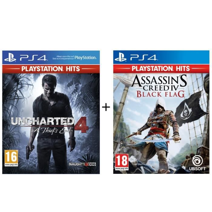 Pack 2 Jeux PS4 PlayStation Hits : Uncharted 4 A Thief's End + Assassin's Creed 4 Black Flag
