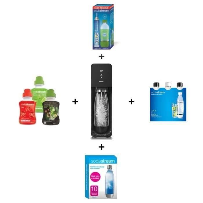 1 machine Source noire + 3 bouteilles PET Fuse d'1L + 1 Cylindre CO2 avec 1 bouteille d'1L + 10 pastilles de nettoyage + 3 concentrés de 500 ml : Limonade, Cola, MojitoGAZEIFICATEUR - MACHINE A SODAS