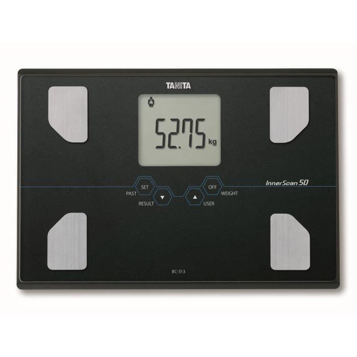 TANITA BC313BK36 Pèse-personne compact en verre avec écran LCD large - Noir