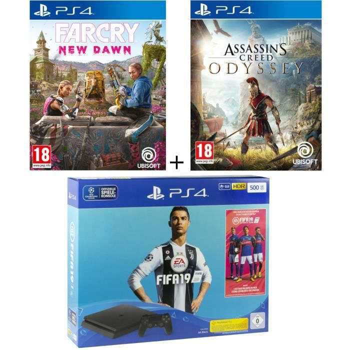 Pack PS4 500 Go + 3 jeux : FIFA 19 + Far Cry New Dawn + Assassin's Creed Odyssey