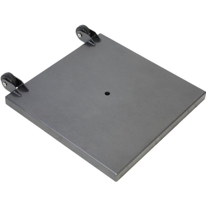 Socle carré en acier galvanisé.