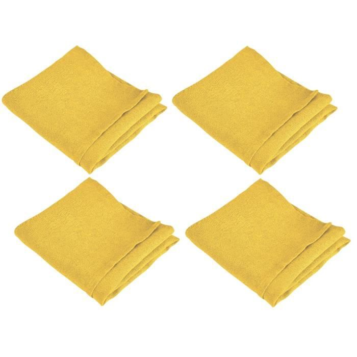 VENT DU SUD 4 Serviettes de table SYMPHONIE en lin - 50 x 50 cm - Jaune safran