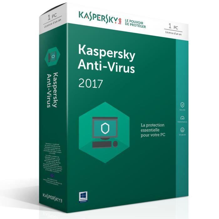 Kaspersky Anti-Virus 2017 protège votre PC contre les virus, les logiciels espions et les programmes malveillants, sans ralentir votre PC.ANTIVIRUS