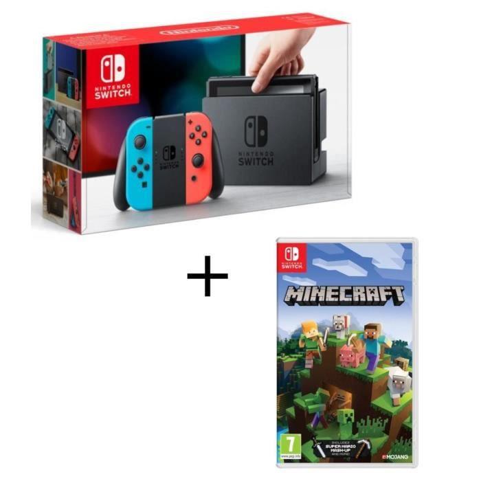 Console nintendo switch avec paire de joy con bleu néon rouge néon minecraft