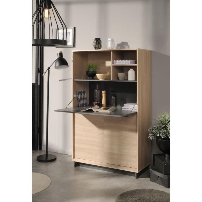 LINK Buffet de cuisine L 90 cm - Décor chêne brooklyn et gris ombre