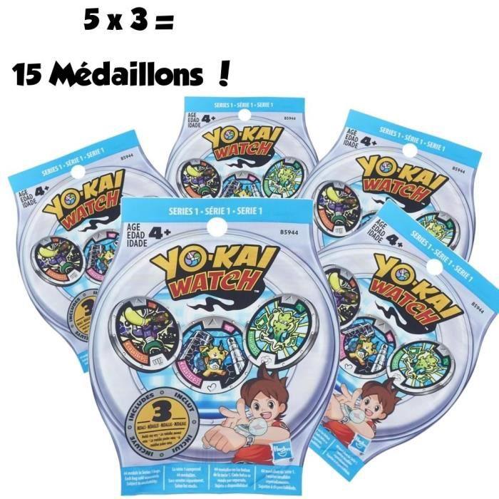 YO-KAI WATCH - Pack de 5 Sachets Mystère de 3 Médaillons