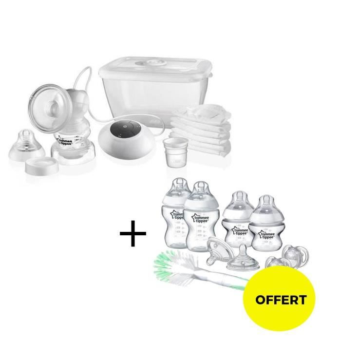 TOMMEE TIPPEE Tire lait + kit naissance Closer to Nature OFFERT - blanc