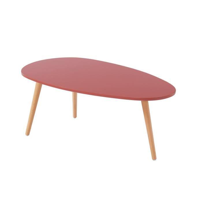STONE Table basse ovale - Décor rouge amarante - Style scandinave - L 88 x P 48 x H 34cm