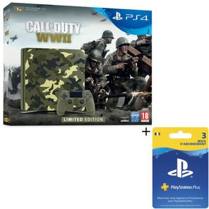 Pack Nouvelle PS4 1To Camo Design + Call of Duty World War II Deluxe Edition + Qui-es-tu ? (Jeu PlayLink ? télécharger) + Abo 3 Mois