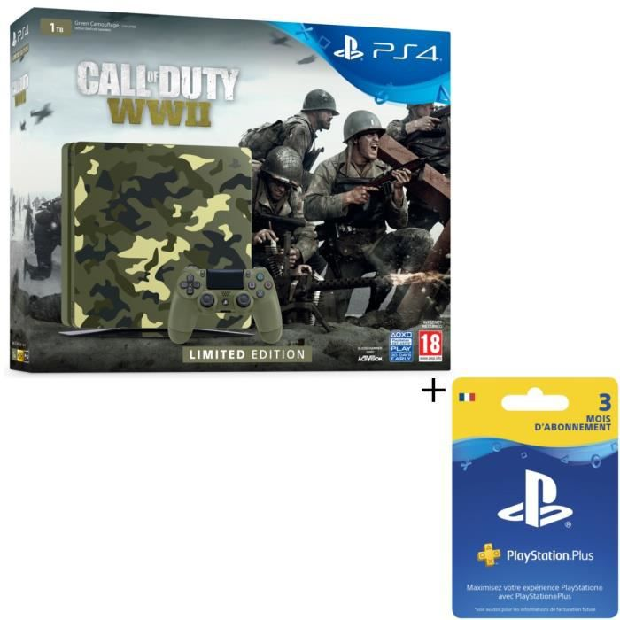Pack Nouvelle PS4 1To Camo Design + Call of Duty World War II Deluxe Edition + Qui-es-tu ? (Jeu PlayLink à télécharger) + Abo 3 Mois