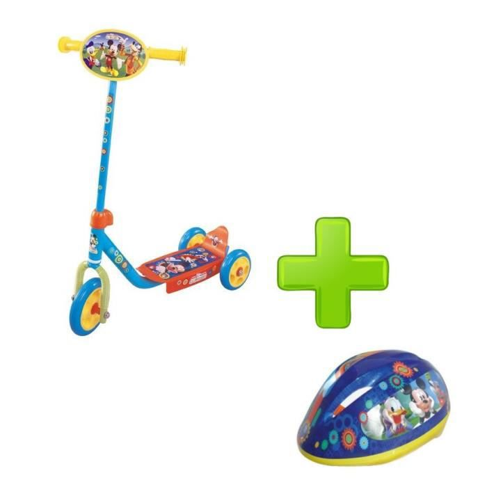 MICKEY Pack Trottinette 3 Roues + Casque 3D Taille S