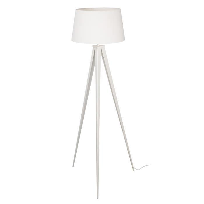 TRIDENT Lampadaire Trépied métal - Abat jour tissu blanc - H 150 cm