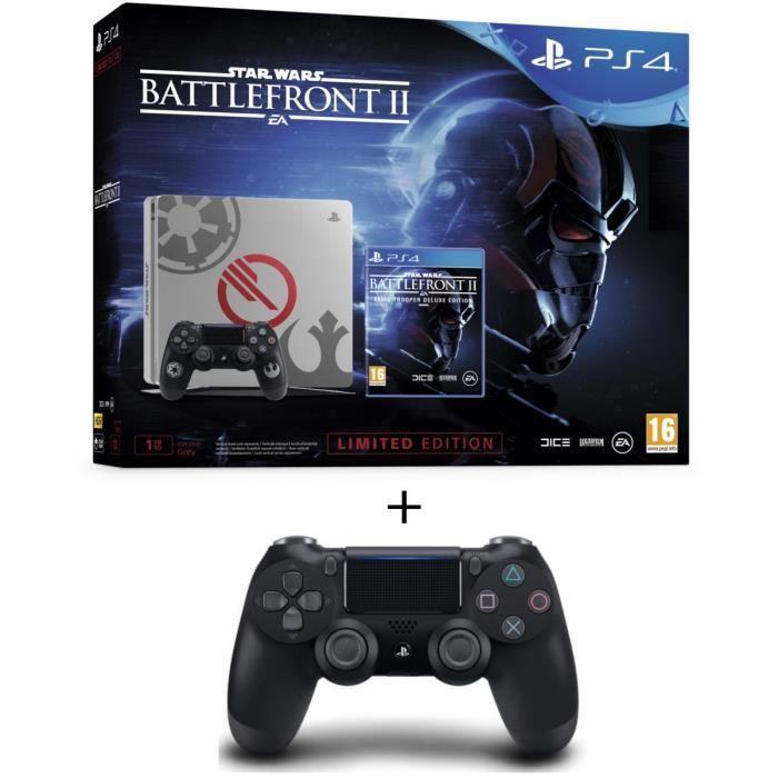 Nouvelle PS4 1 To Star Wars Battlefront II Edition Spéciale + Star Wars Battlefront II Edition Deluxe + Manette DS4 Noire V2