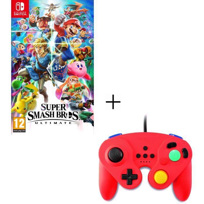 Super Smash Bros Ultimate Nintendo + Manette filaire rouge pour Switch
