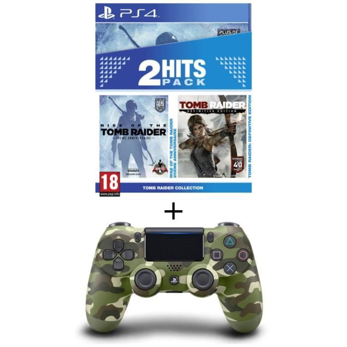 Pack Tomb Raider Edition Definitive + Rise of the Tomb Raider Jeux PS4 + Manette PS4 DualShock 4 Green Camo V2