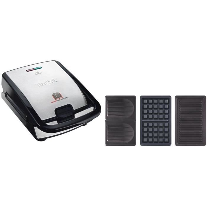 TEFAL SW853D12 Gaufrier multifonction + XA800312 Lot de 2 plaques grill panini Snack Collection offe