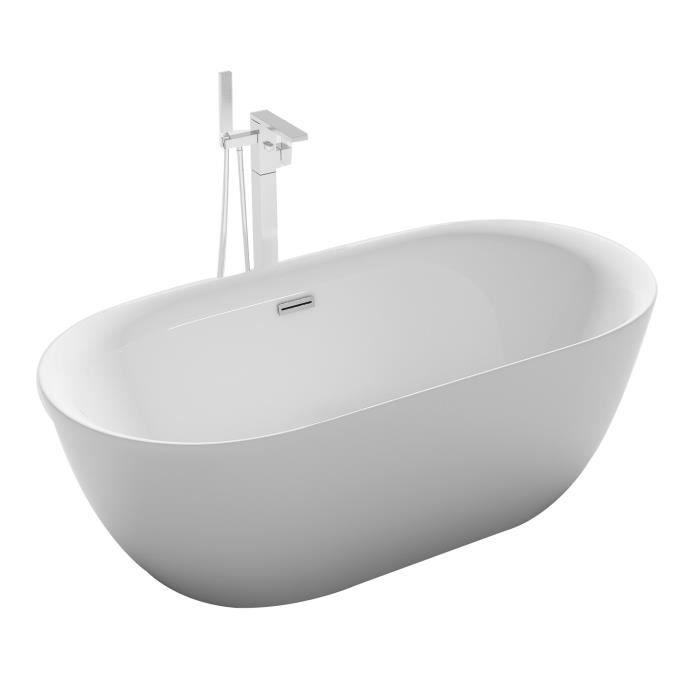 Baignoire ilot ovale design 170x80 cm en acrylique blanc siphon central