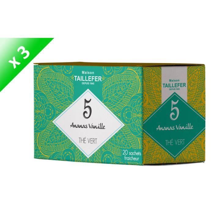 MAISON TAILLEFER Lot de 3 Thés Vert Ananas, Vanille en Boite de 20 Sachets Individuels