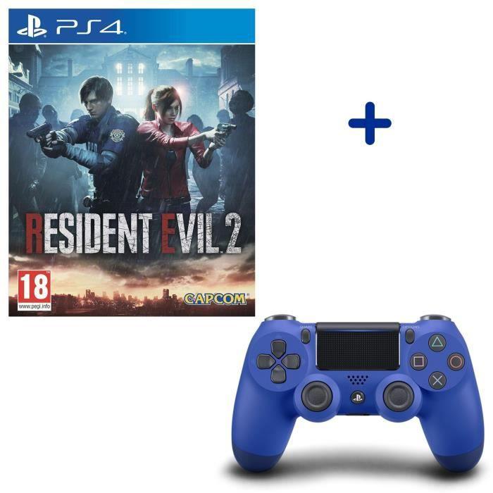 Resident Evil 2 + Manette DualShock 4 Bleue