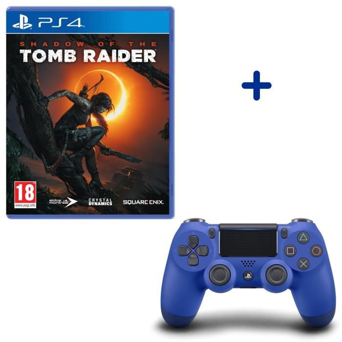 Shadow Of The Tomb Raider + Manette DualShock 4 Bleue