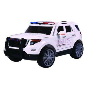 Voiture électrique Police 12V - Blanc