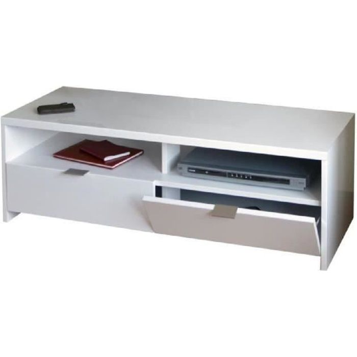 En MDF blanc brillant - L 110 x P 38 x H 41 cm - Avec 2 abattants et 2 nichesMEUBLE TV - MEUBLE HI-FI