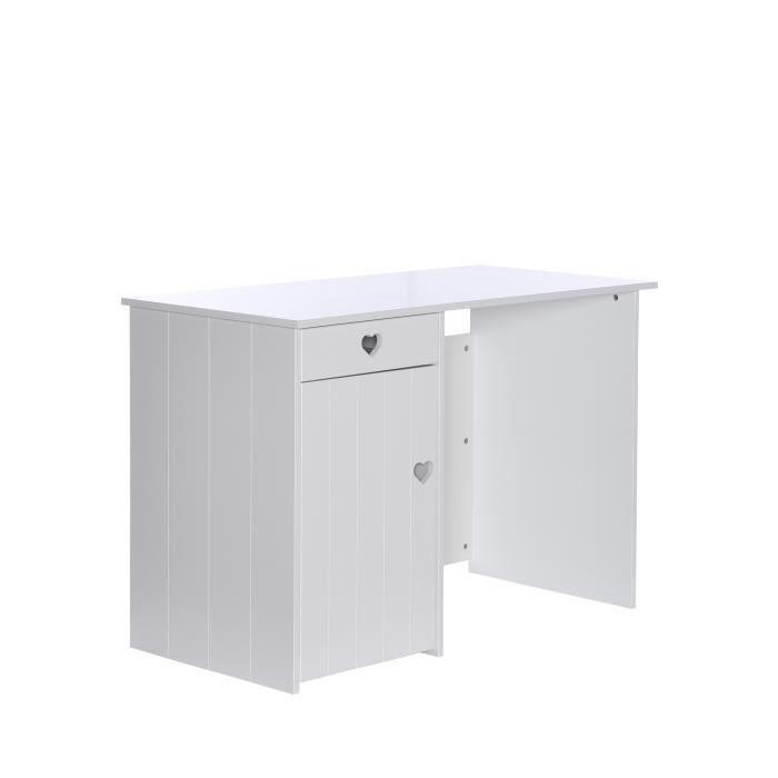 MDF E1 laqué blanc – L 120 x P 55 x H 95 cm – 1 tiroir et 2 étagères - Fabrication françaiseBUREAU - REHAUSSE BUREAU