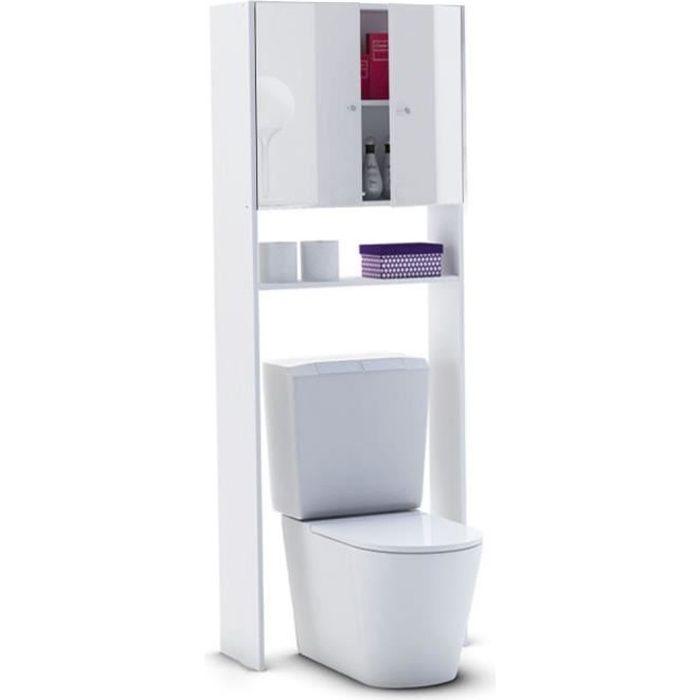 L 63 x P 25 x H 178 cm - Livré en kit - Idéal pour WC ou machine à laver - 2 portes + 1 étagère - Façades Laqué Haute Brillance - Fabrication françaiseCOLONNE WC - ARMOIRE WC - COFFRAGE WC - PONT WC