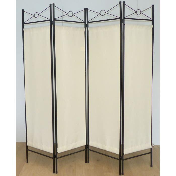 Matériau : acier et toile polyester - Dimension : 180 x 163 x 2 cm - Coloris : blanc et noirPARAVENT