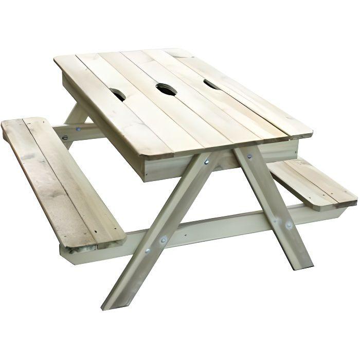 TRIGANO Table Pic nic en bois Enfant avec bac à sable intégré