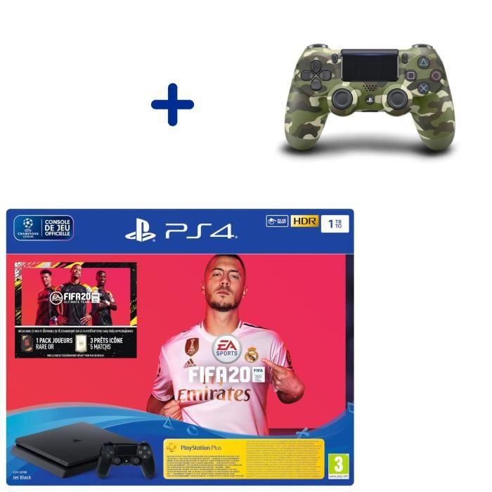 Pack Console PS4 Slim 1To Noire + Fifa 20 + Manette DualShock 4 Green Camo + PS Plus Voucher 14 Jours