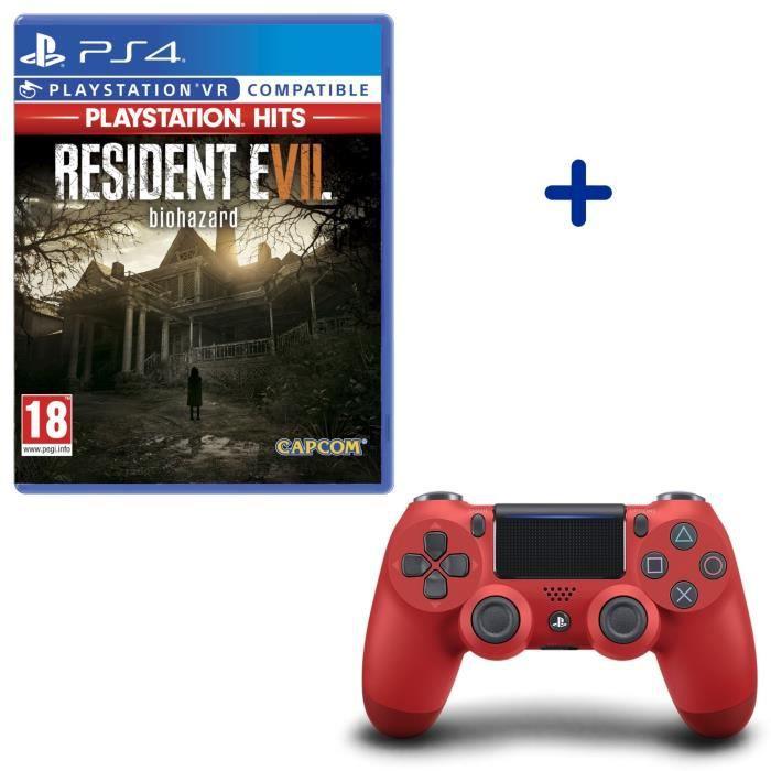 Resident Evil VII PlayStation Hits + Manette DualShock 4 Rouge
