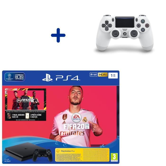 Pack Console PS4 Slim 1To Noire + Fifa 20 + Manette DualShock 4 Glacier White + PS Plus Voucher 14 Jours
