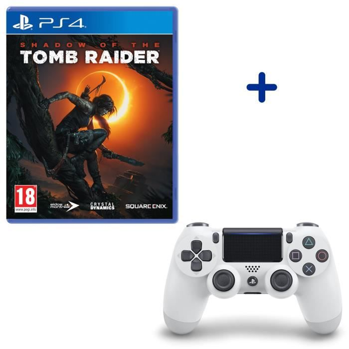 Shadow Of The Tomb Raider + Manette DualShock 4 Glacier White