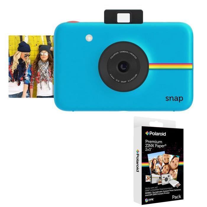 Pack POLAROID SNAP Bleu - 10 mégapixels Appareil photo instantané compact + POLAROID Recharge papier pour SNAP  (x20p)