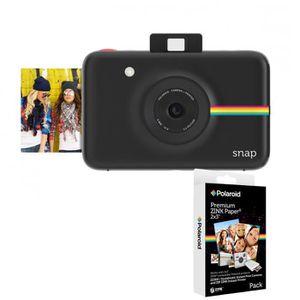 Pack POLAROID SNAP Noir - 10 mégapixels Appareil photo instantané compact + POLAROID Recharge papier pour SNAP (x20p)