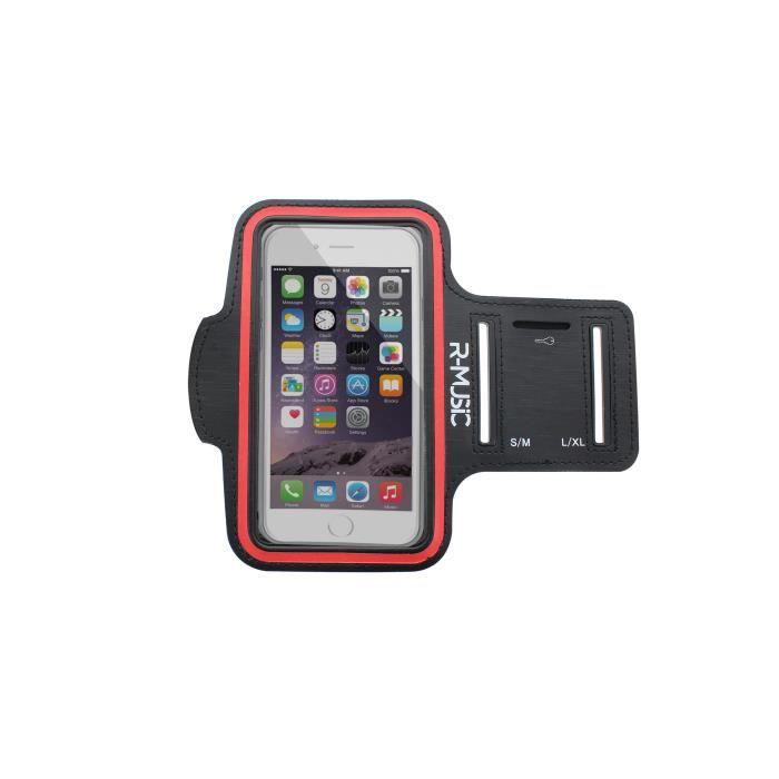 R-MUSIC Armband - Brassard universel pour smartphone - Noir et Rouge