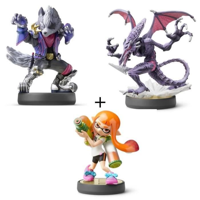 Pack 3 amiibos Super Smash Bros : Fille Inkling + Ridley + Wolf