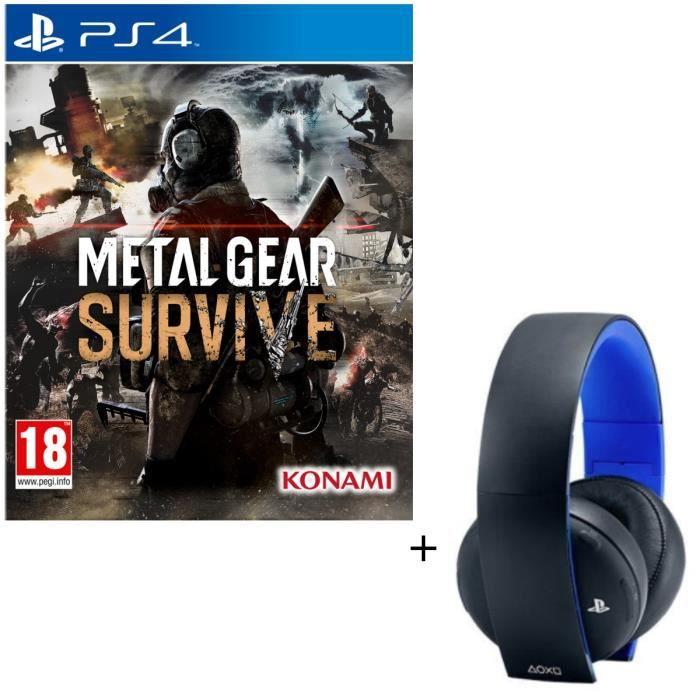 Pack Metal Gear Survive Jeu PS4 + Micro-casque Sony Sans Fil Stéréo 2.0 PS4, PS3, PS Vita