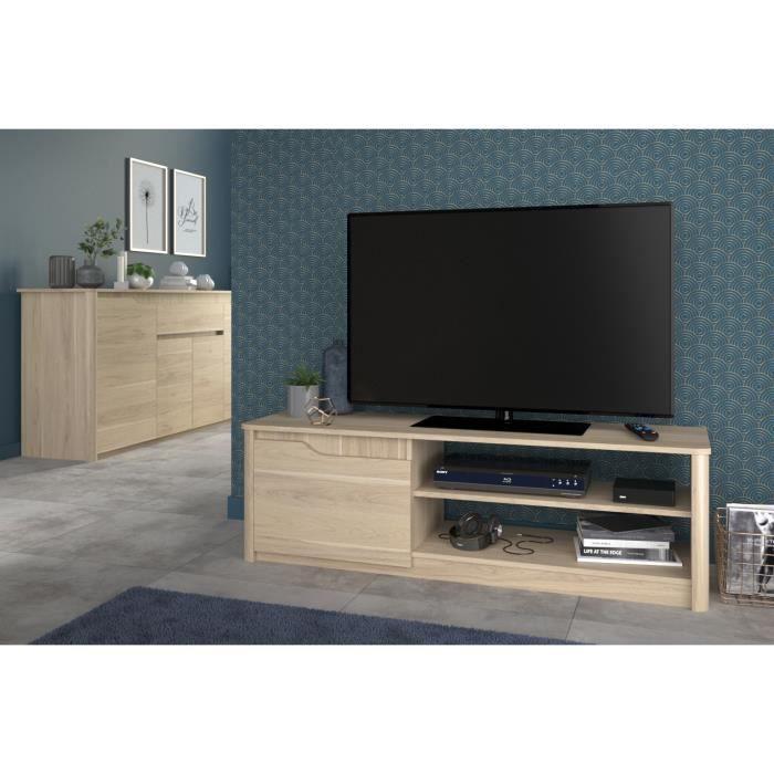 136x40x42 cm - Panneaux de particules - Décor chêne dakota - 1 porte - Fabrication 100% FrançaiseMEUBLE TV - MEUBLE HI-FI