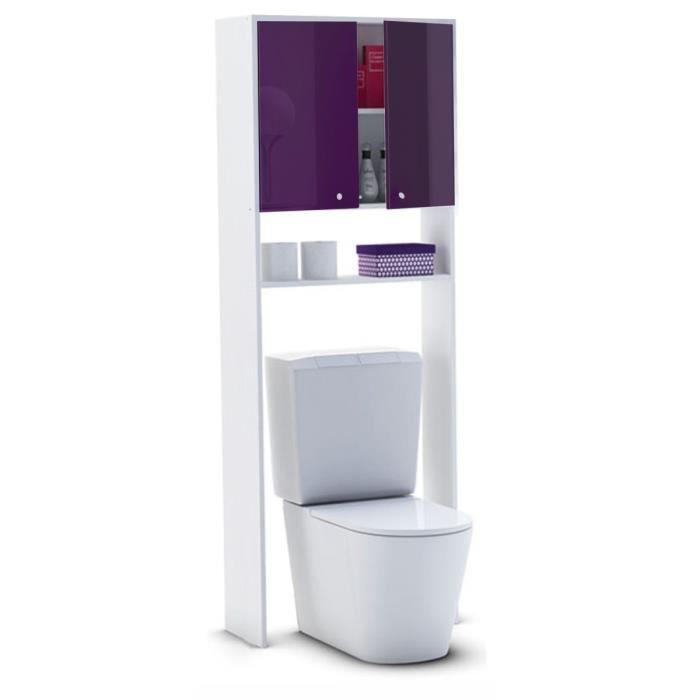 Panneaux de particules - L 63 x P 25 x H 178 cm - Livré en kit - Idéal pour WC ou machine à laver - 2 portes + 1 étagère - Façades Laqué Haute Brillance - Fabrication françaiseCOLONNE WC - ARMOIRE WC - COFFRAGE WC - PONT WC