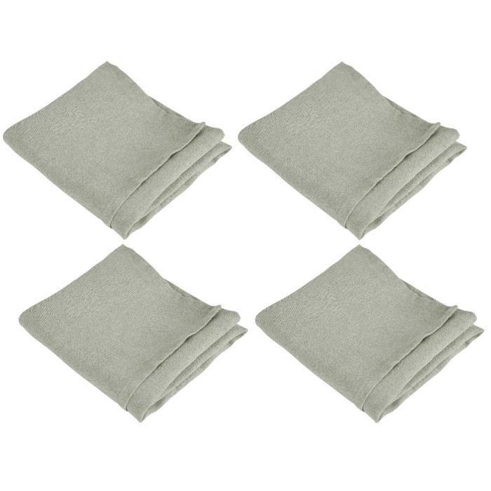 VENT DU SUD 4 Serviettes de table SYMPHONIE en lin - 50 x 50 cm - Gris taupe